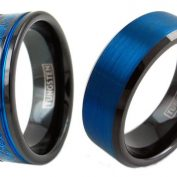 Buy Affordable Black and Blue Tungsten Ring Online